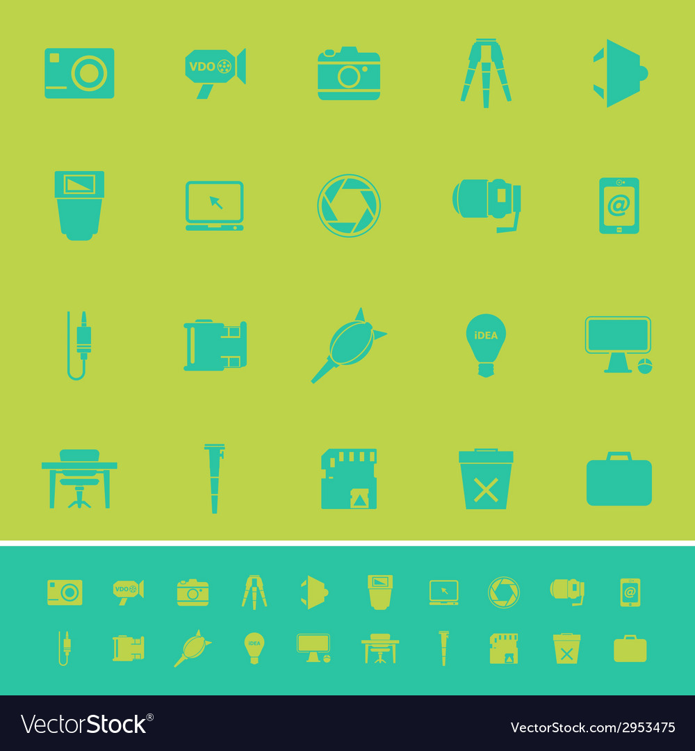 Photography related item color icons on green vector | Price: 1 Credit (USD $1)