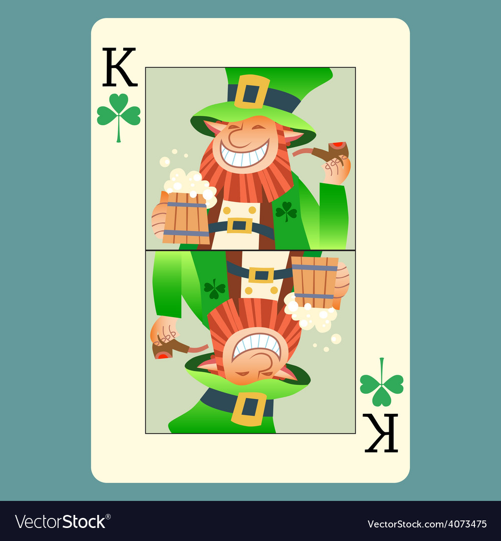 Playing card king green leprechaun st patrick day vector