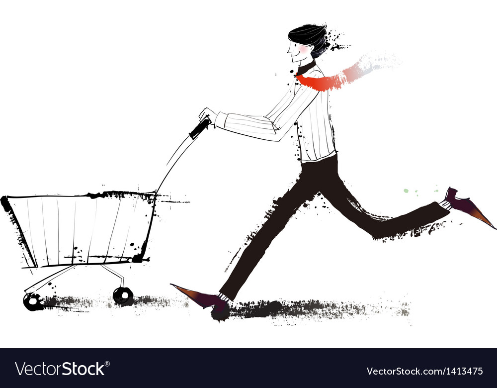 Side view of man holding trolley vector | Price: 3 Credit (USD $3)