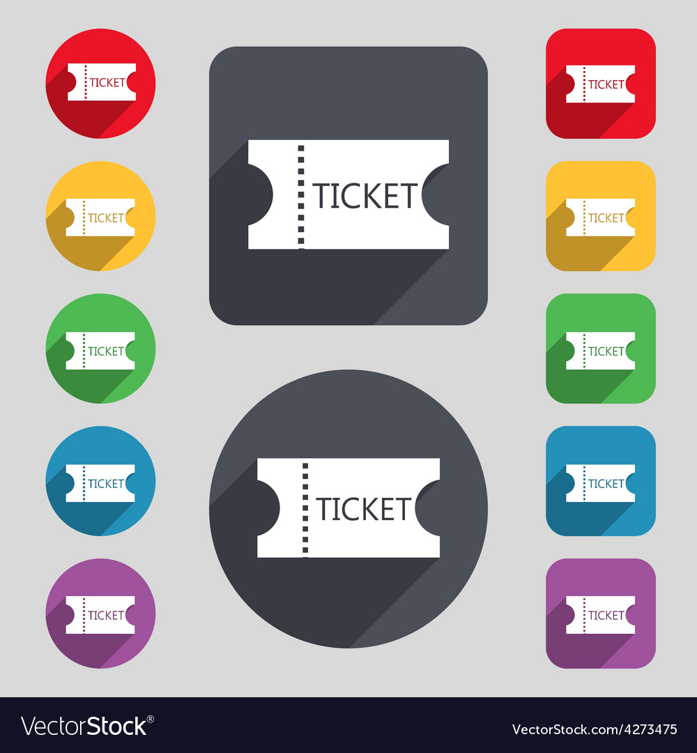 Ticket icon sign a set of 12 colored buttons and a vector | Price: 1 Credit (USD $1)