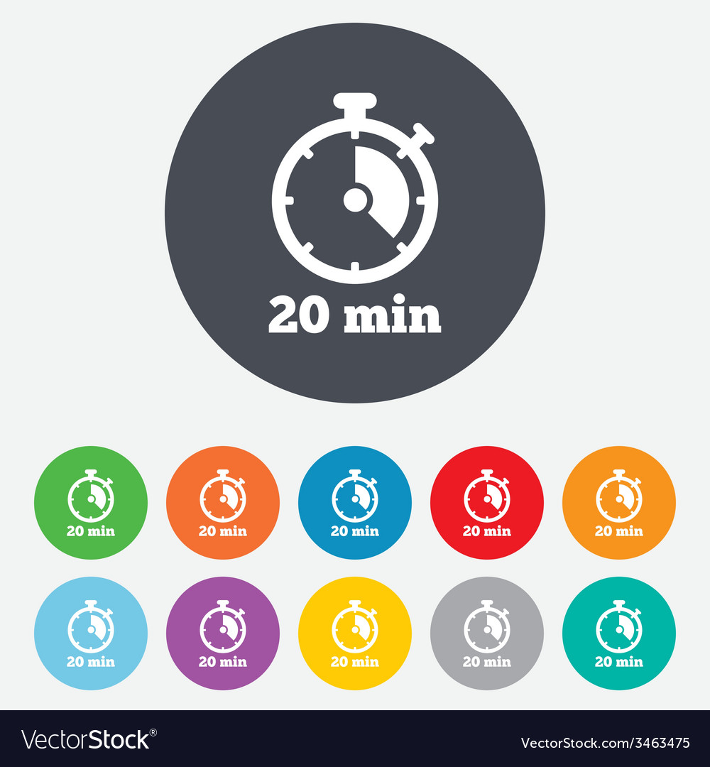 Timer sign icon 20 minutes stopwatch symbol vector | Price: 1 Credit (USD $1)
