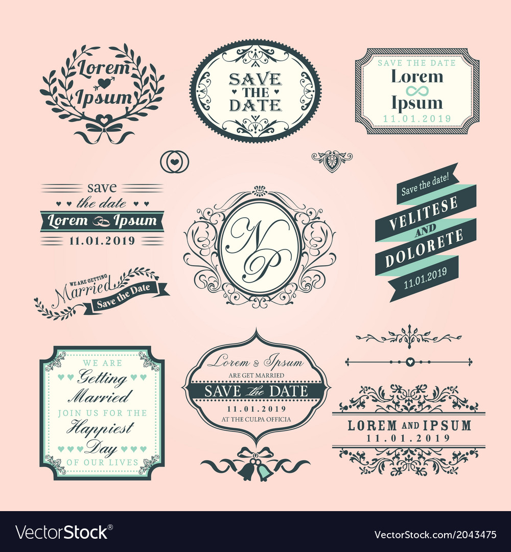Vintage style wedding border and frames vector | Price: 1 Credit (USD $1)
