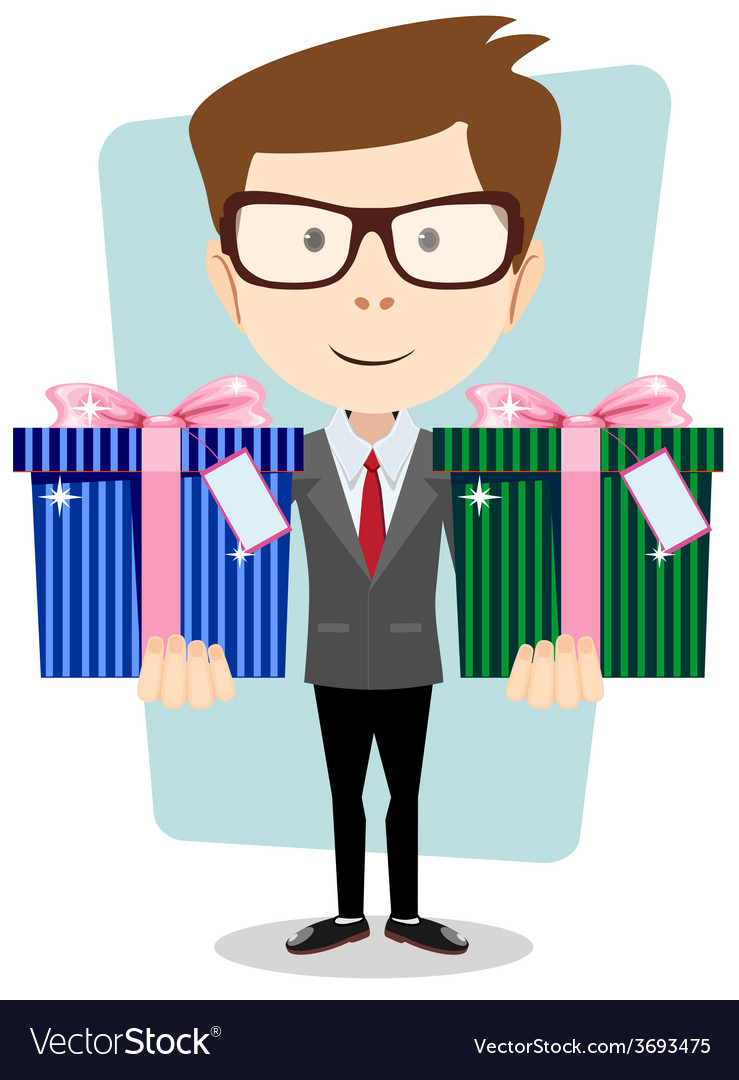 Young successful businessman gives two gifts vector | Price: 1 Credit (USD $1)