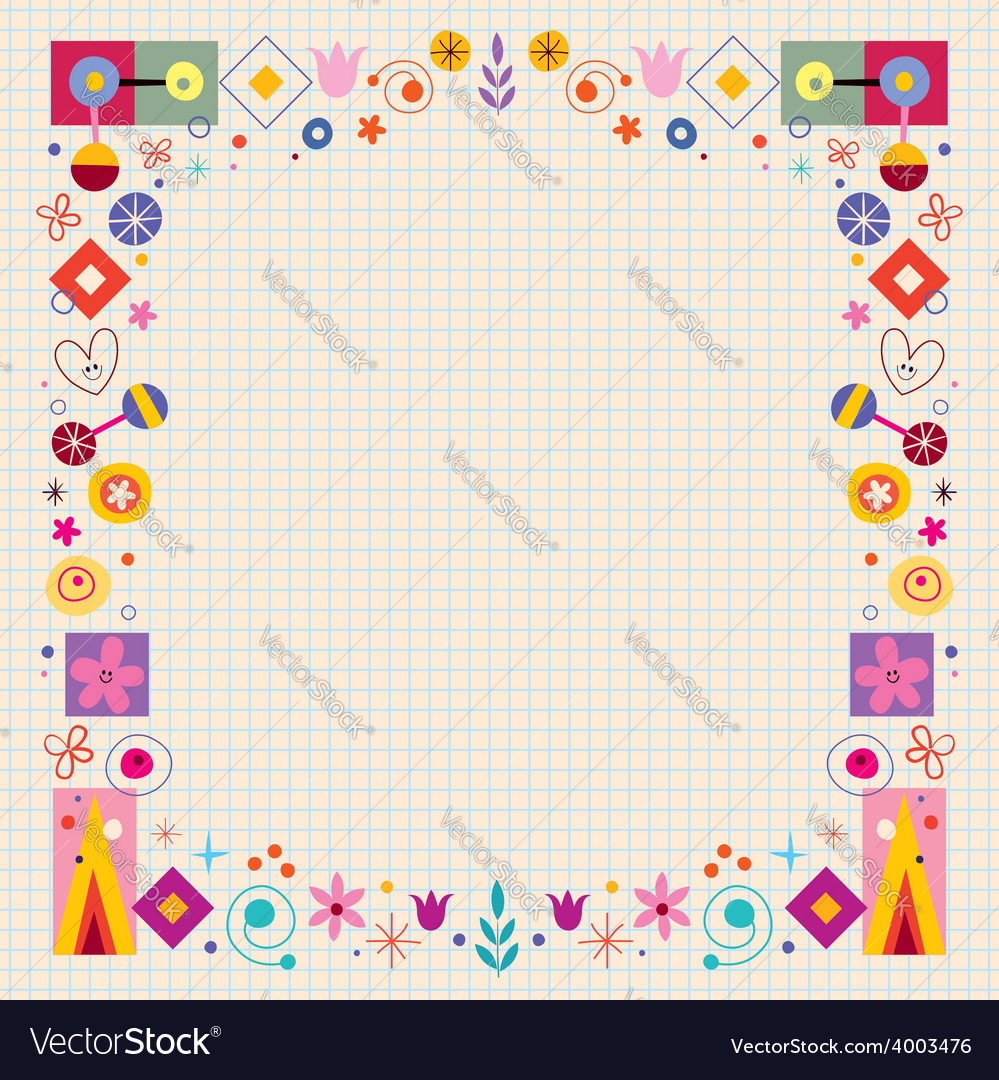 Abstract art flowers nature retro frame vector | Price: 1 Credit (USD $1)