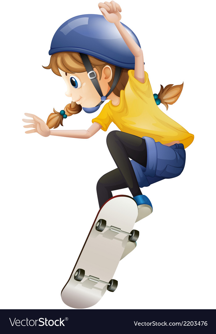 An energetic young woman skating vector | Price: 1 Credit (USD $1)