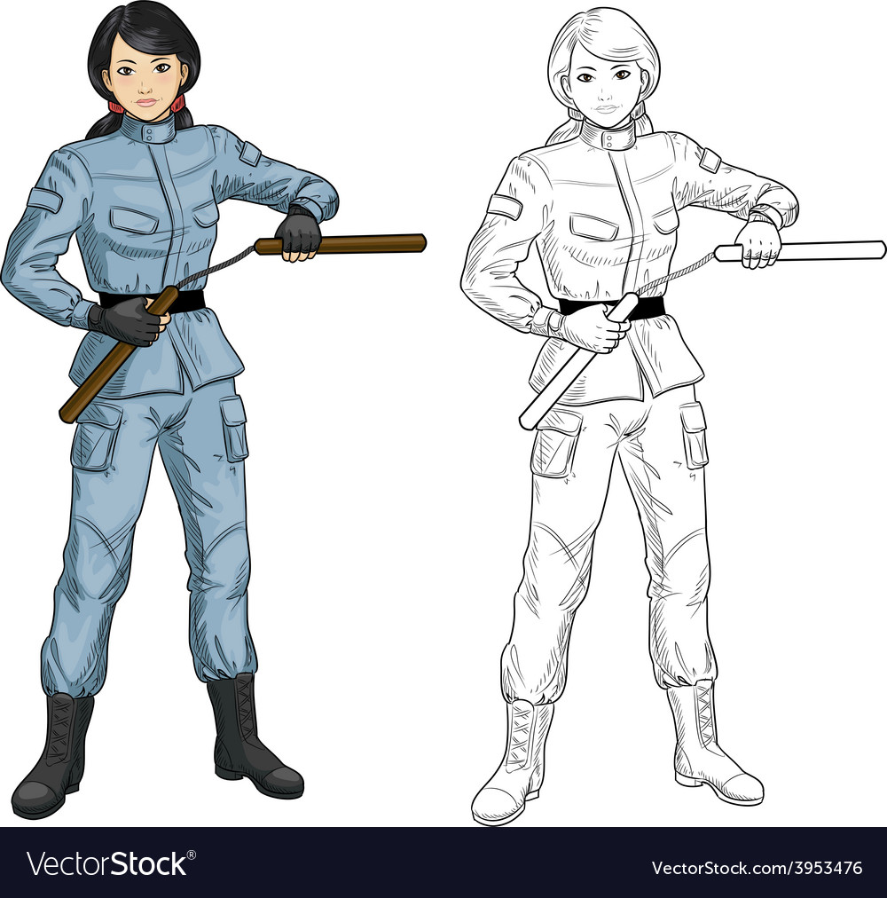 Asian nunchuck girl in military uniform vector | Price: 1 Credit (USD $1)