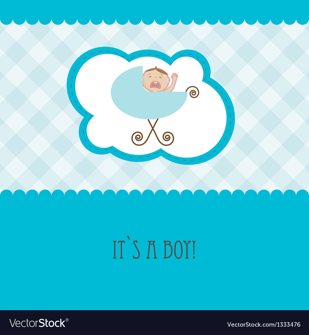 Baby boy announcement card vector   Price: 1 Credit (USD $1)