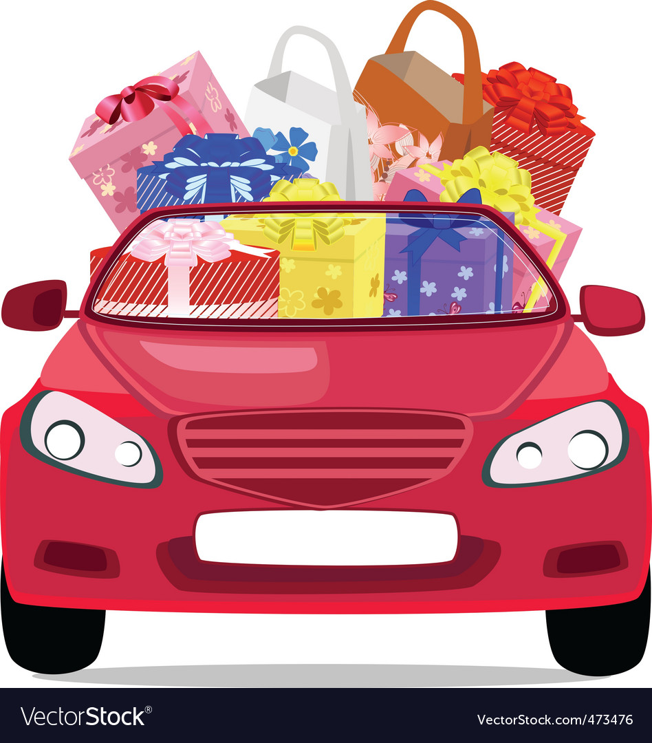 Car with gifts vector | Price: 1 Credit (USD $1)