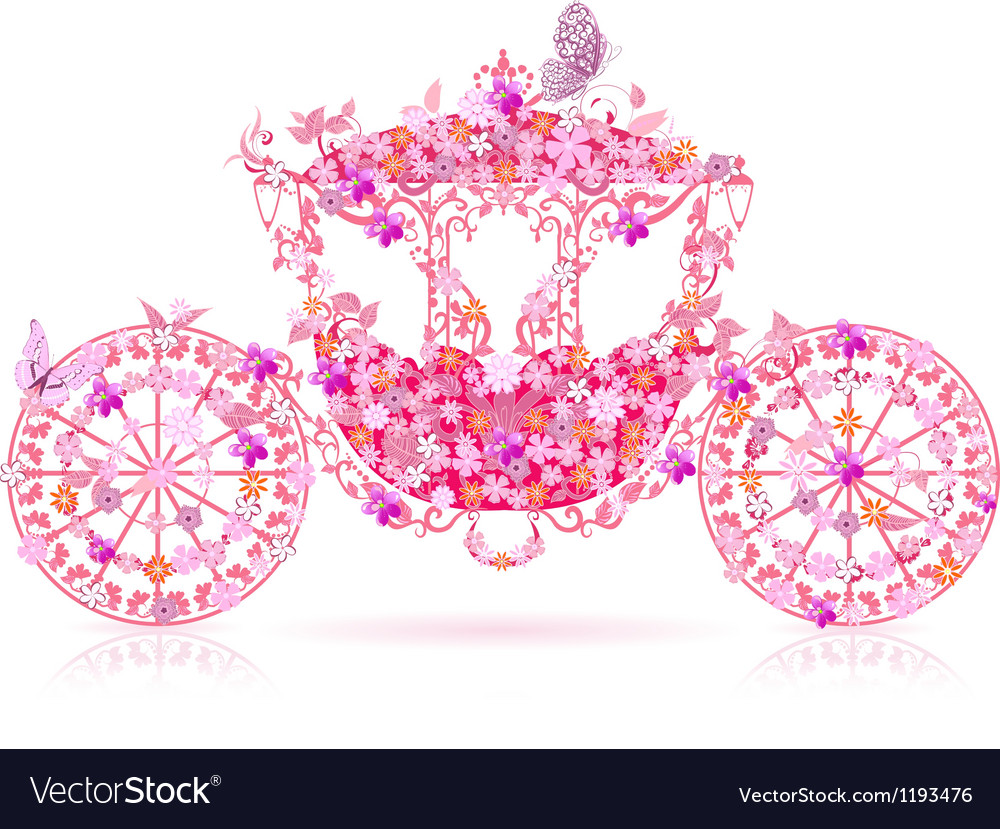 Carriage floral pink vector | Price: 1 Credit (USD $1)
