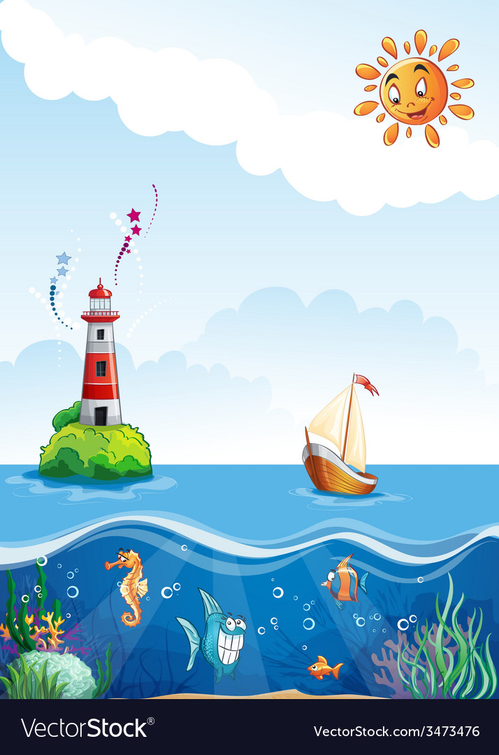 Childrens of sea with lighthouse sailing and fun vector | Price: 5 Credit (USD $5)