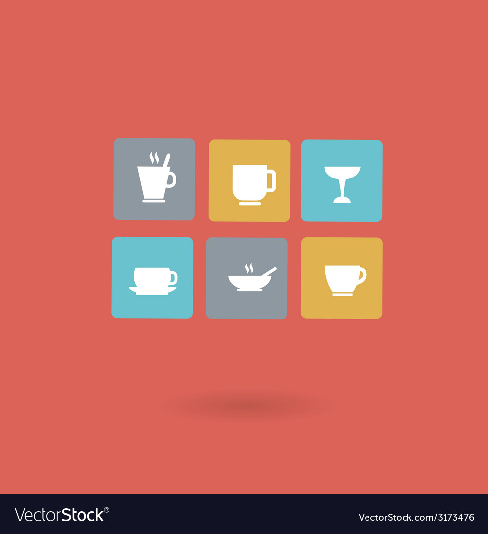 Cups with different drinks icon vector   Price: 1 Credit (USD $1)