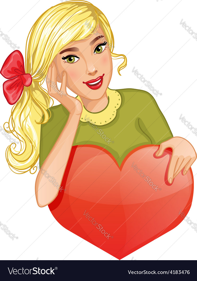 Cute cartoon blond girl holds red heart eps10 vector | Price: 1 Credit (USD $1)