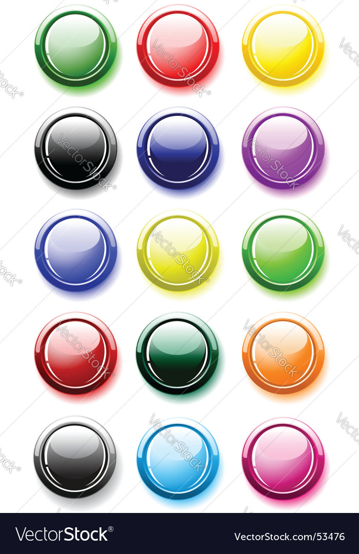 Glossy buttons isolated on white vector | Price: 1 Credit (USD $1)