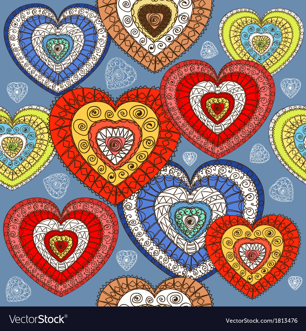 Ornamented color hearts seamless background vector | Price: 1 Credit (USD $1)