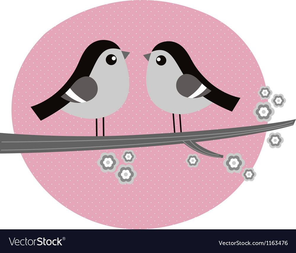 Retro birds couple in love on pink background vector | Price: 1 Credit (USD $1)