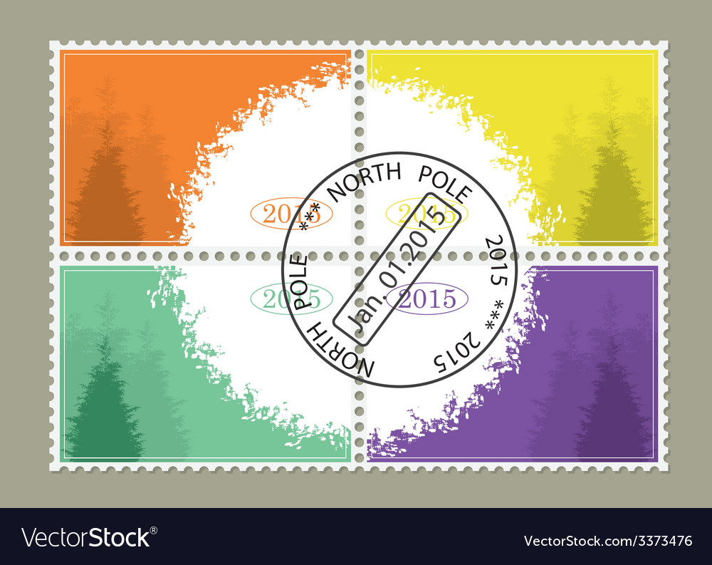 Set from four stamps for new year vector | Price: 1 Credit (USD $1)