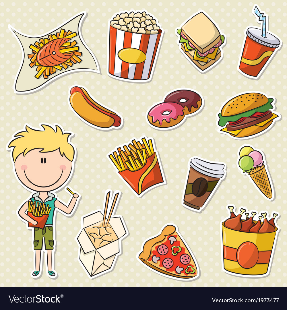 Boy with fast food vector | Price: 1 Credit (USD $1)