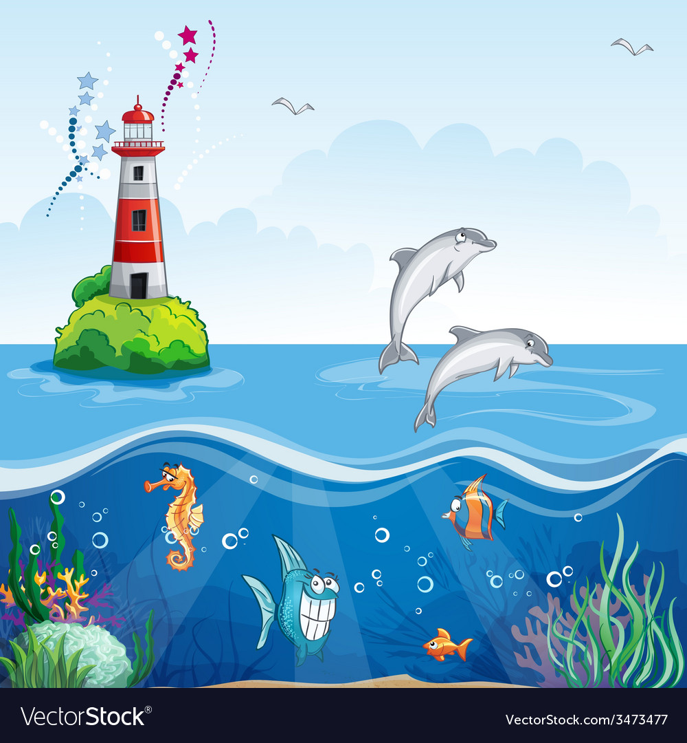 Childrens of the lighthouse and the sea dolphins vector | Price: 5 Credit (USD $5)
