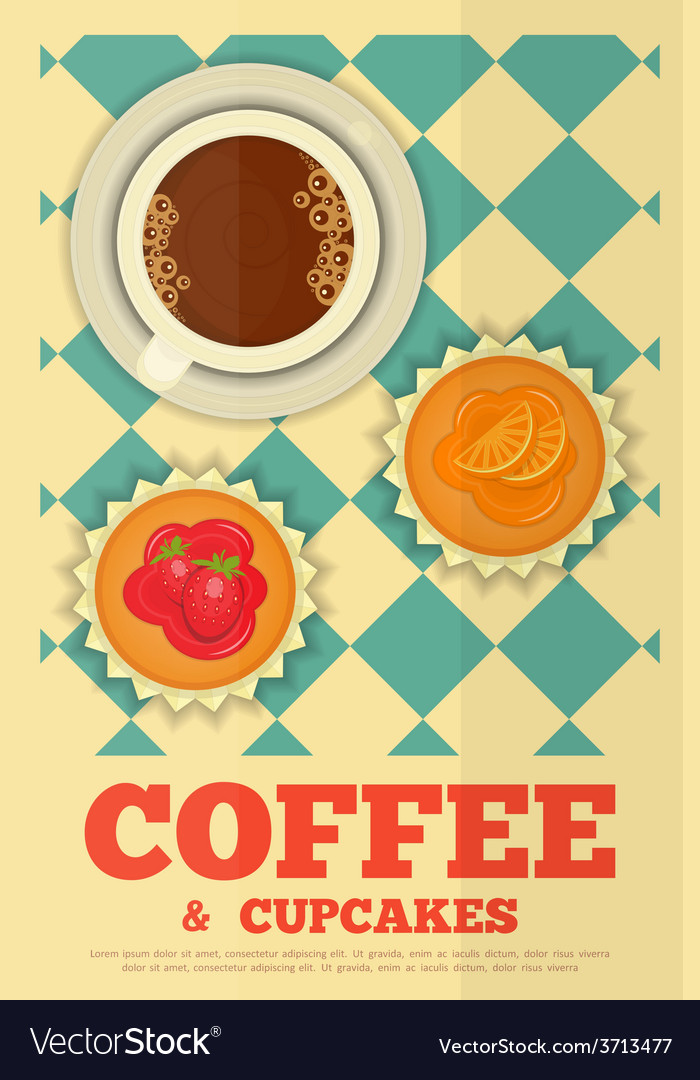 Coffee and orange and strawberry cupcakes vector   Price: 1 Credit (USD $1)
