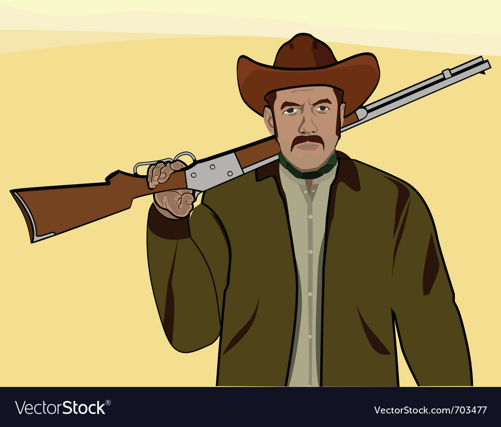 Cowboy with a rifle vector | Price: 1 Credit (USD $1)