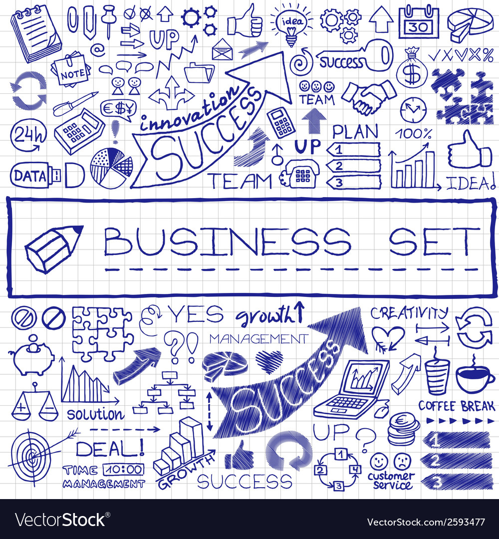 Hand drawn business set of icons vector | Price: 1 Credit (USD $1)