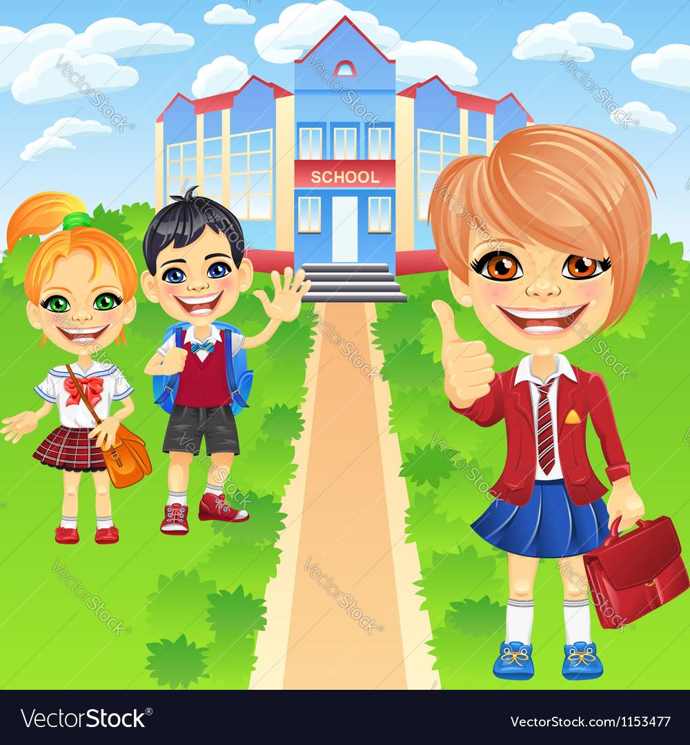 Happy smiling schoolchildren girls and boy vector | Price: 3 Credit (USD $3)