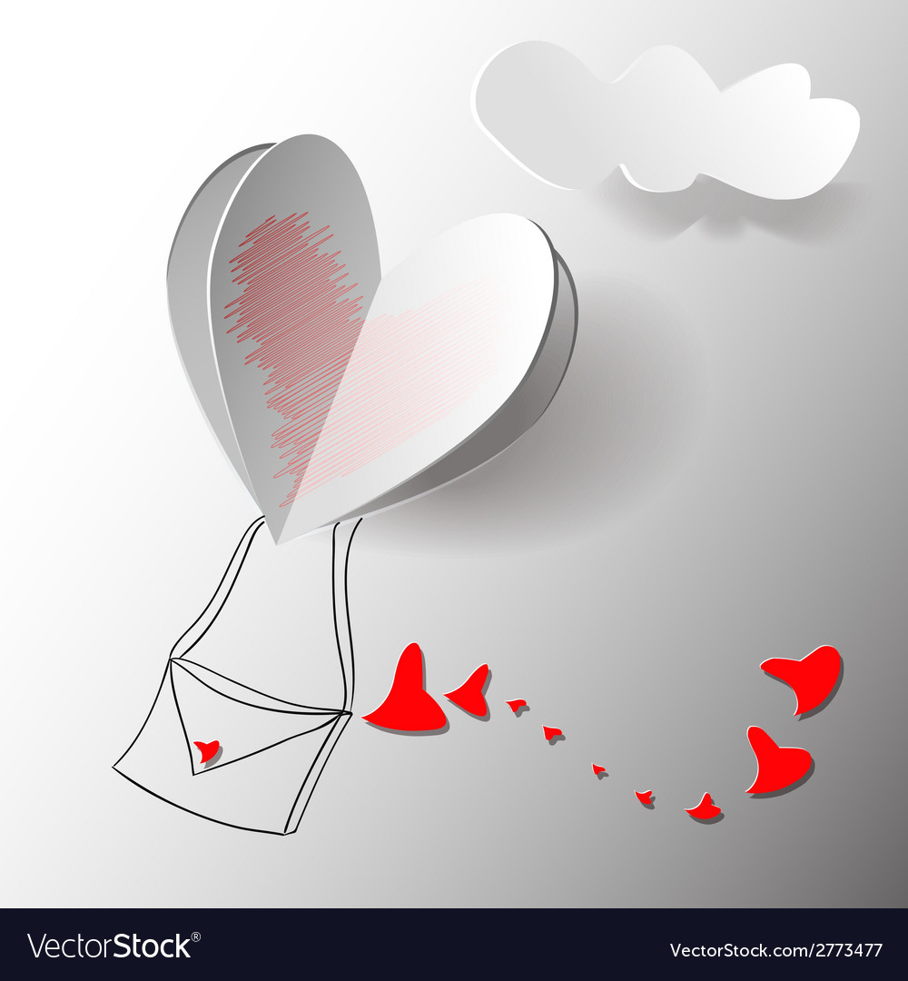 Heart paper sticker with shadow - postcard vector | Price: 1 Credit (USD $1)