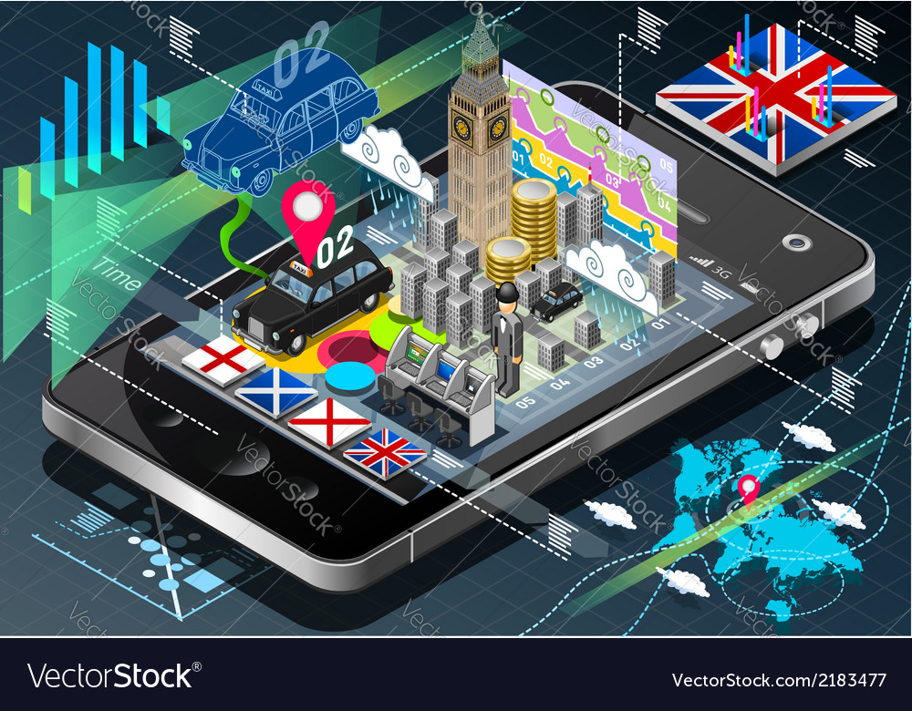 Isometric infographic of great britain on mobile vector | Price: 1 Credit (USD $1)