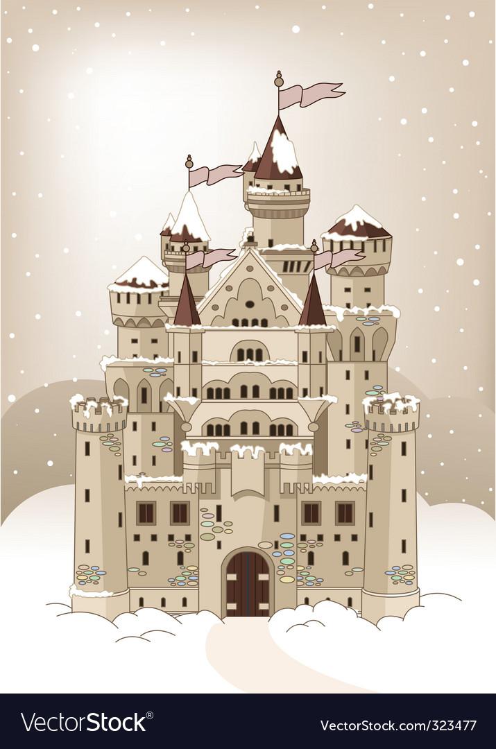 Magic winter castle invitation card vector | Price: 3 Credit (USD $3)