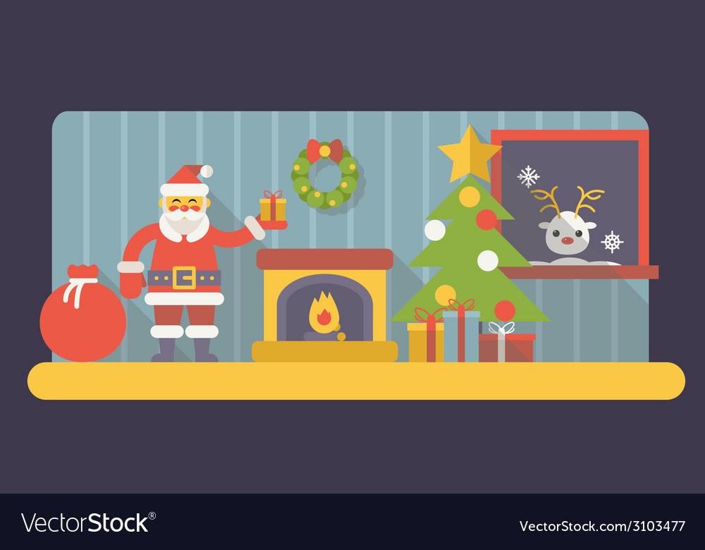 New year room santa claus with gift box and bag vector | Price: 1 Credit (USD $1)
