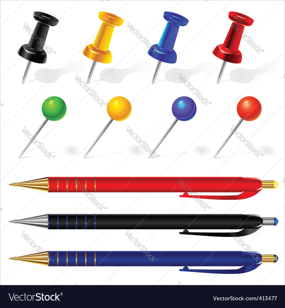 Pens and pins vector | Price: 1 Credit (USD $1)