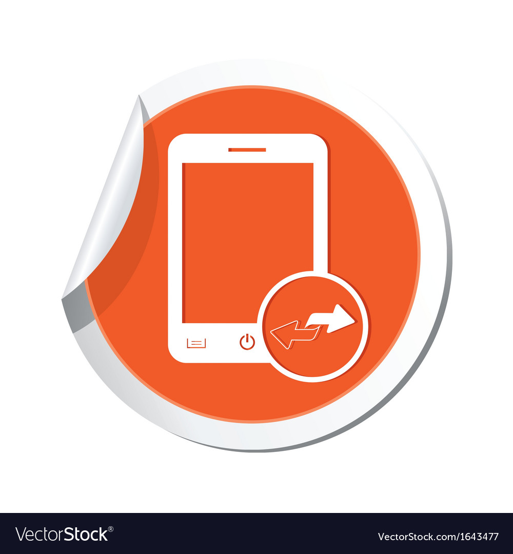 Phone errows icon orange sticker vector | Price: 1 Credit (USD $1)