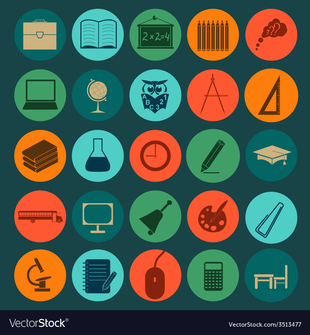 Set education icons vector | Price: 1 Credit (USD $1)