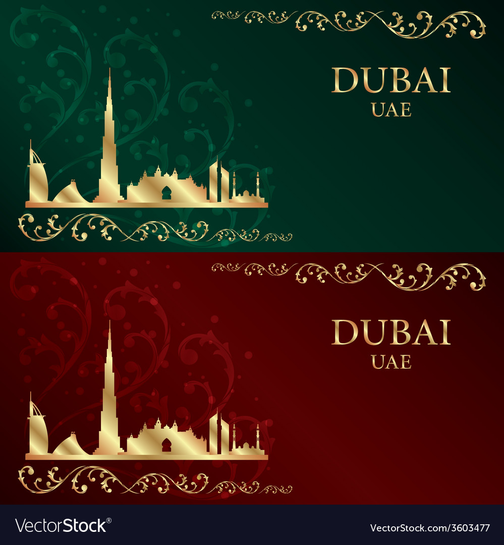 Set of dubai skyline silhouette vintage background vector   Price: 1 Credit (USD $1)