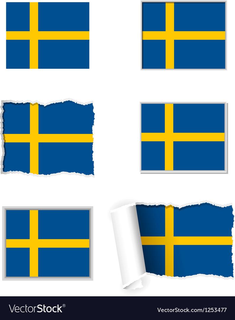 Sweden flag set vector | Price: 1 Credit (USD $1)