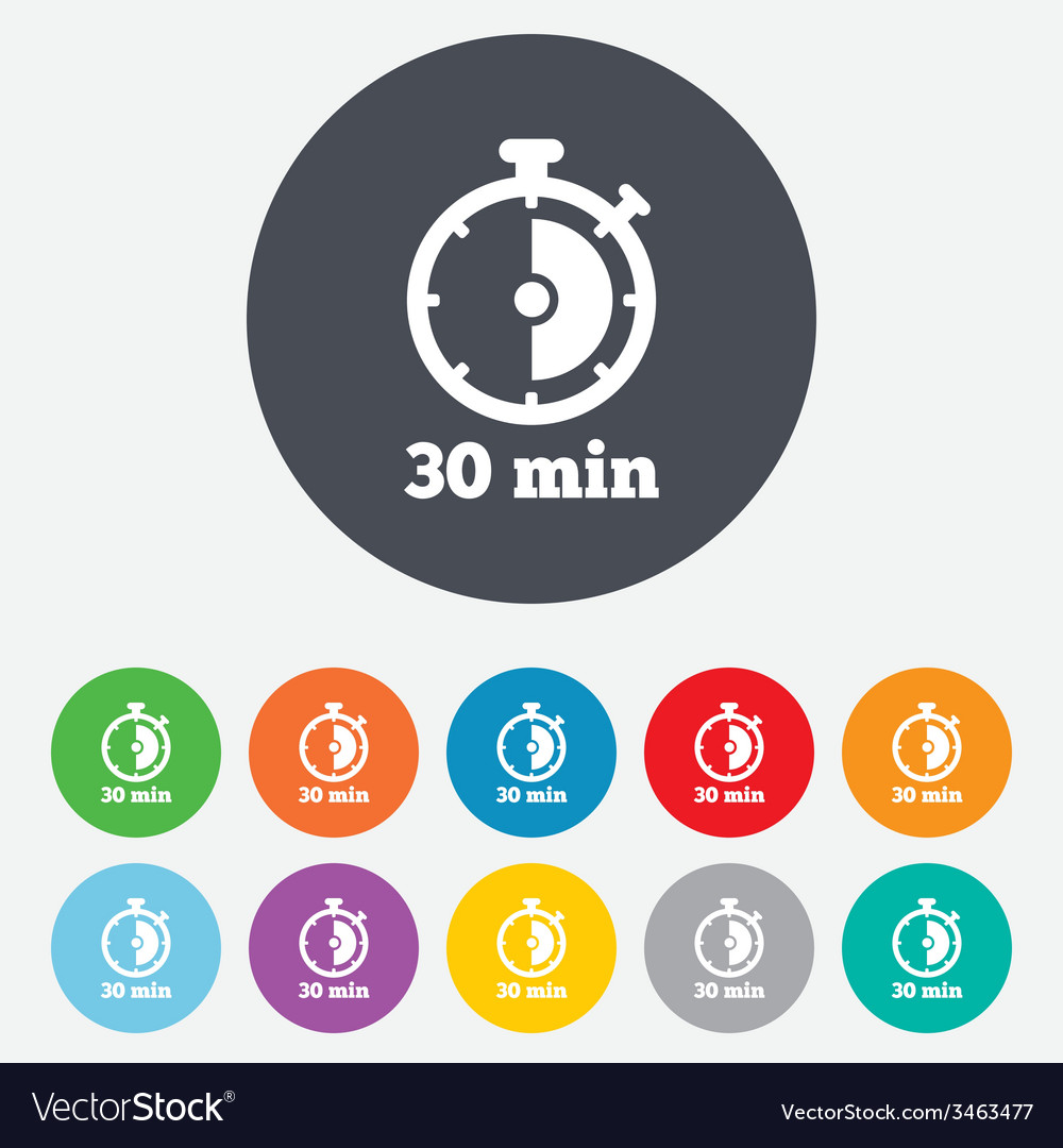 Timer sign icon 30 minutes stopwatch symbol vector | Price: 1 Credit (USD $1)