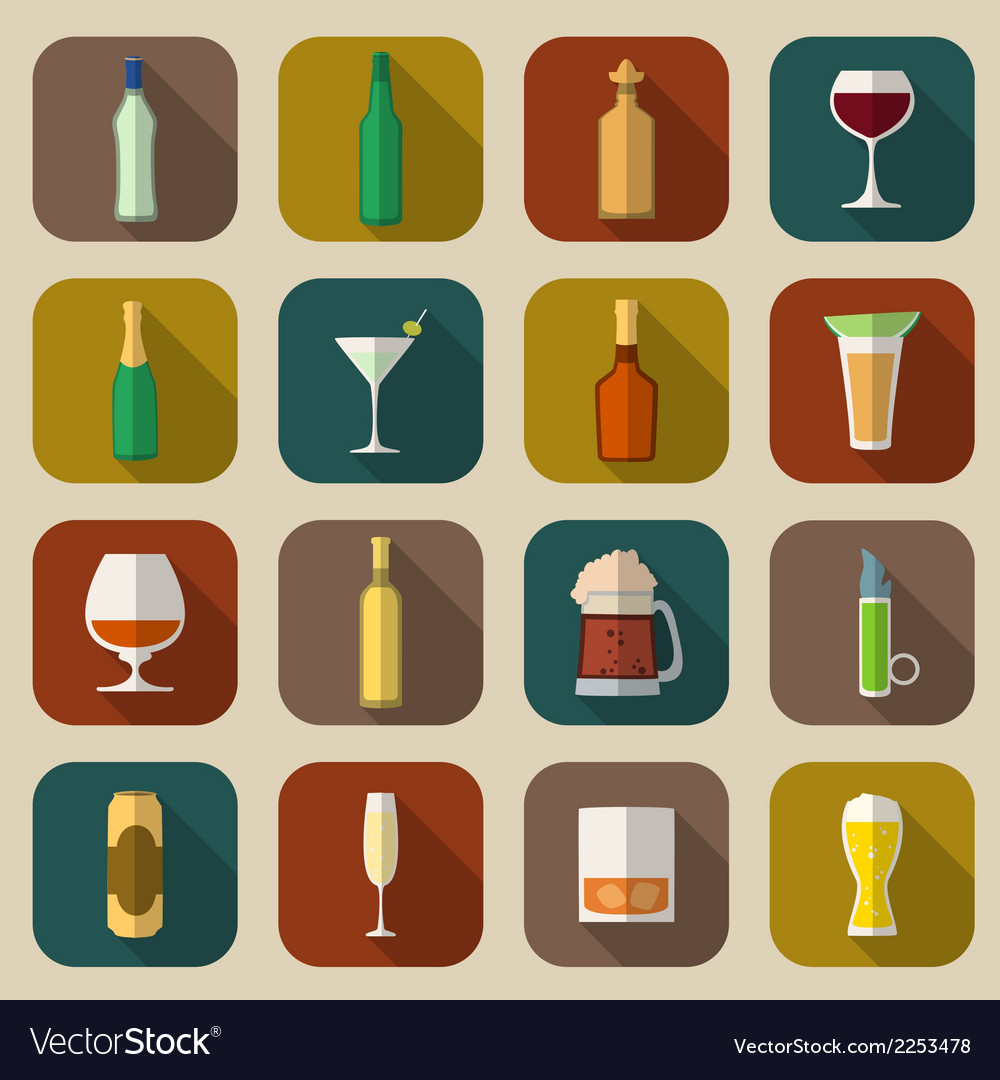 Alcohol icons flat vector | Price: 1 Credit (USD $1)