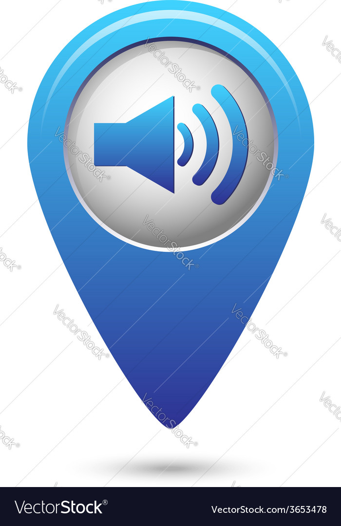 Blue map pointer with speaker volume icon vector | Price: 1 Credit (USD $1)
