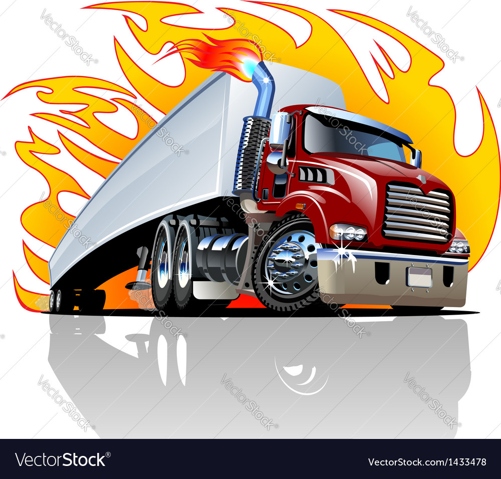 Cartoon semi truck one-click repaint vector | Price: 3 Credit (USD $3)