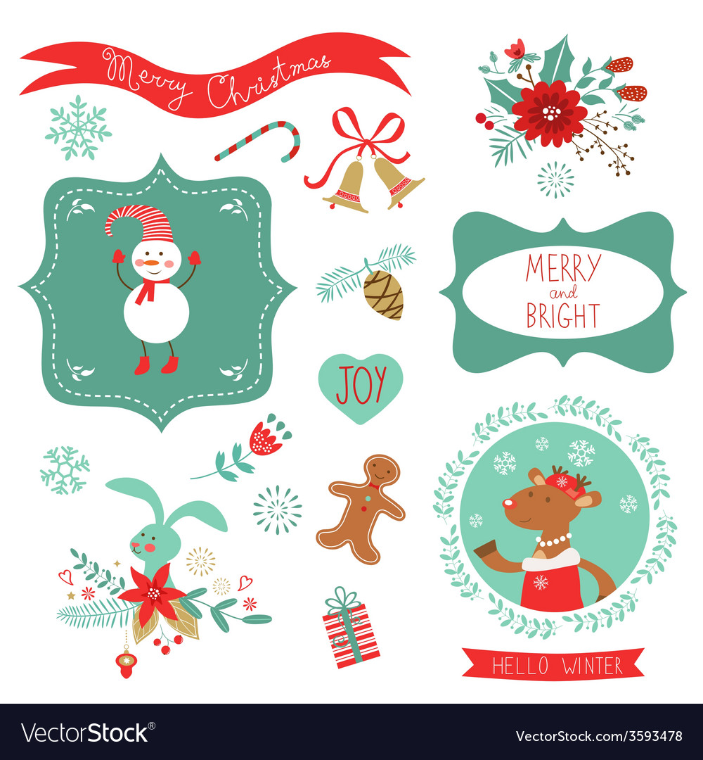 Christmas cute graphic elements vector | Price: 1 Credit (USD $1)