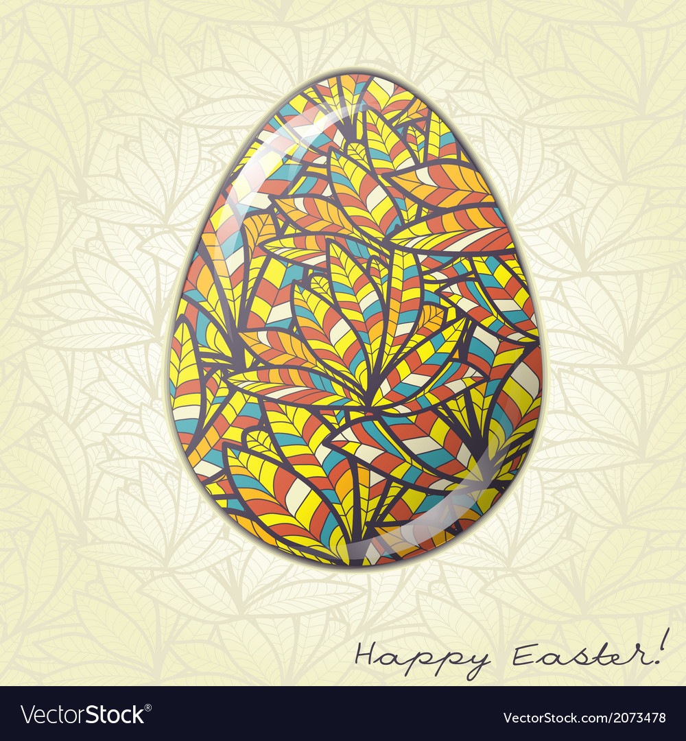 Easter egg greeting card feather ornament vector | Price: 1 Credit (USD $1)