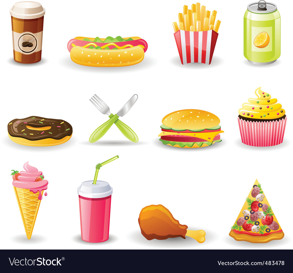 Fast food icon set vector | Price: 3 Credit (USD $3)