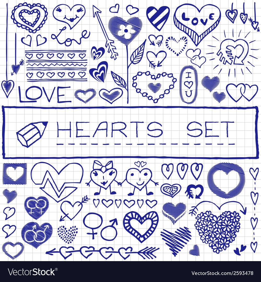 Hand drawn set of hearts and arrows blue pen vector | Price: 1 Credit (USD $1)