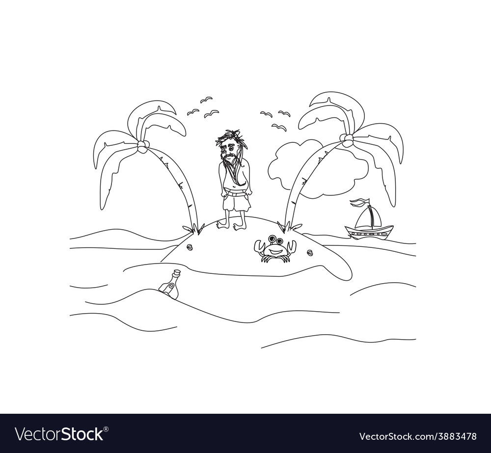 Lonely the man living on a small desert island vector | Price: 1 Credit (USD $1)