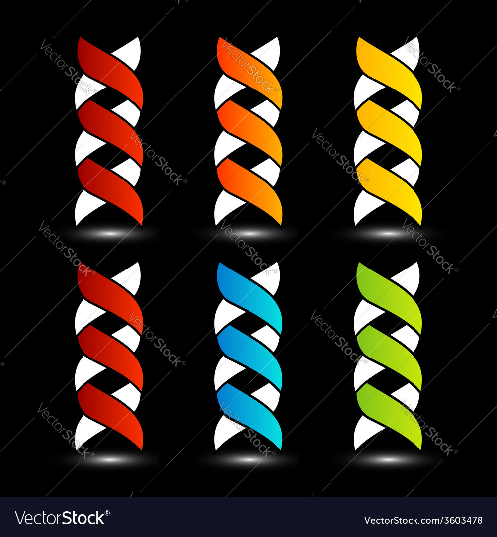 Set of colorful dna logos with shadow vector | Price: 1 Credit (USD $1)