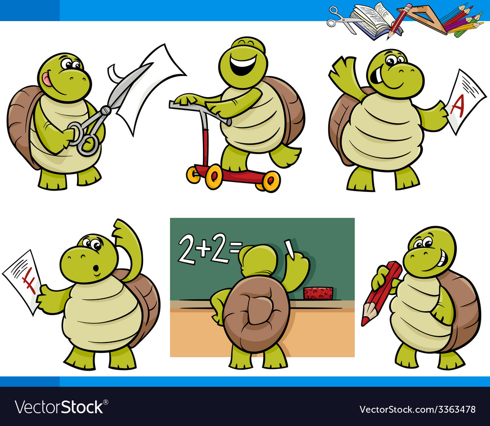 Turtle character student cartoon set vector | Price: 3 Credit (USD $3)