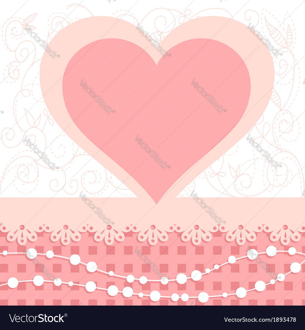 Valentines day heart floral invitation postcard vector | Price: 1 Credit (USD $1)
