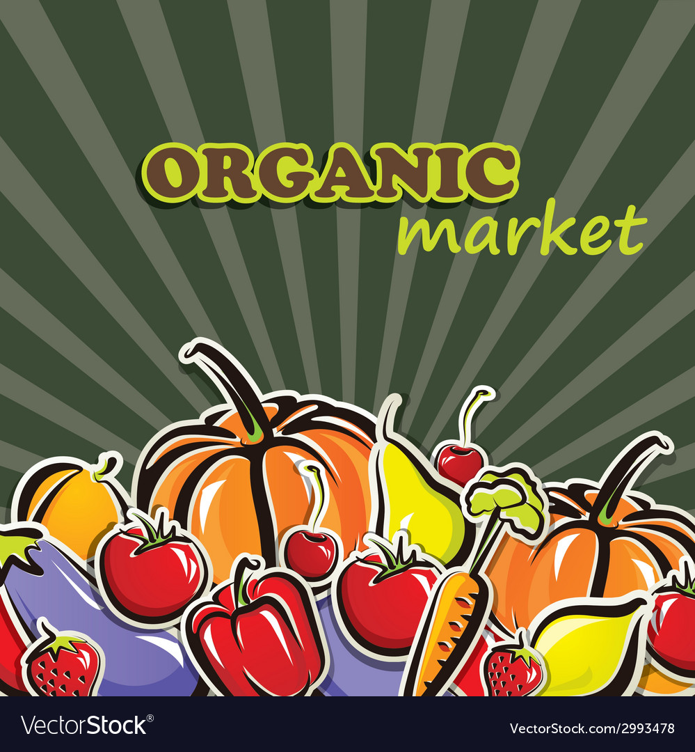 Vegetables and fruit organic food concept vector | Price: 1 Credit (USD $1)