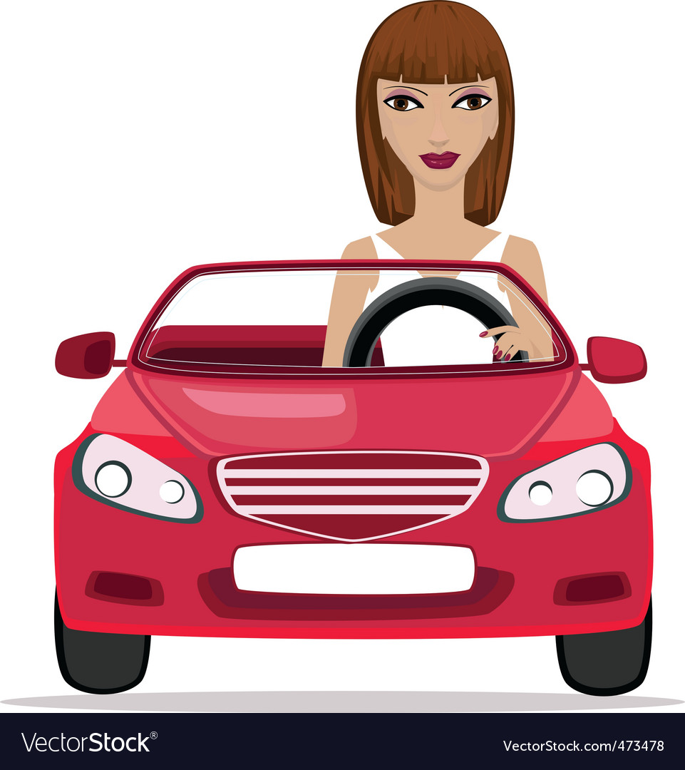 Woman in a red convertible vector | Price: 1 Credit (USD $1)