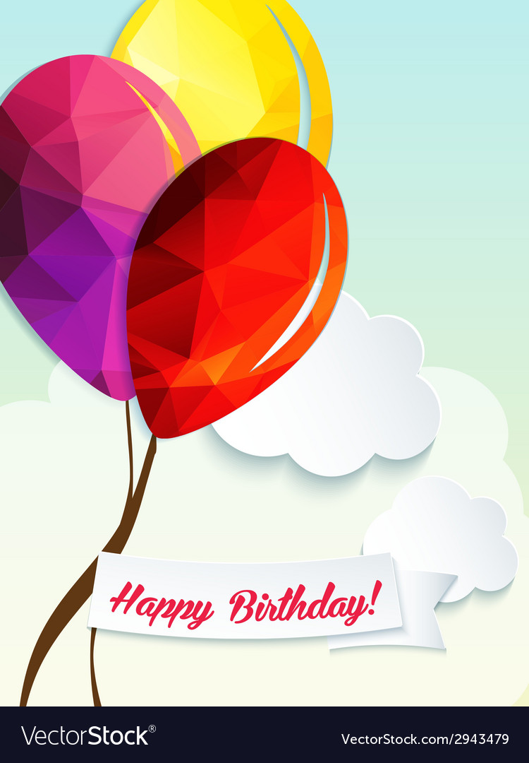 Birthday greeting card with triangle balloons vector | Price: 1 Credit (USD $1)